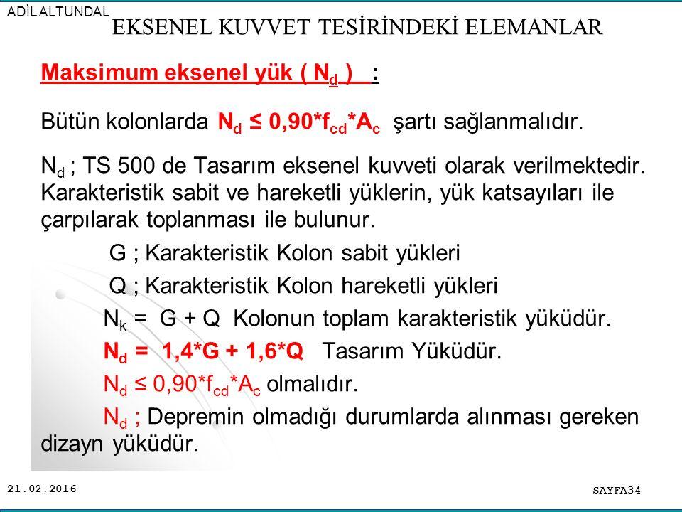 21.02.2016 Maksimum eksenel yük ( N d ) : Bütün kolonlarda N d ≤ 0,90*f cd *A c şartı sağlanmalıdır.
