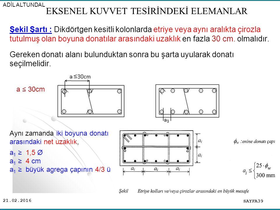 21.02.2016 Şekil Şartı : Dikdörtgen kesitli kolonlarda etriye veya aynı aralıkta çirozla tutulmuş olan boyuna donatılar arasındaki uzaklık en fazla 30 cm.