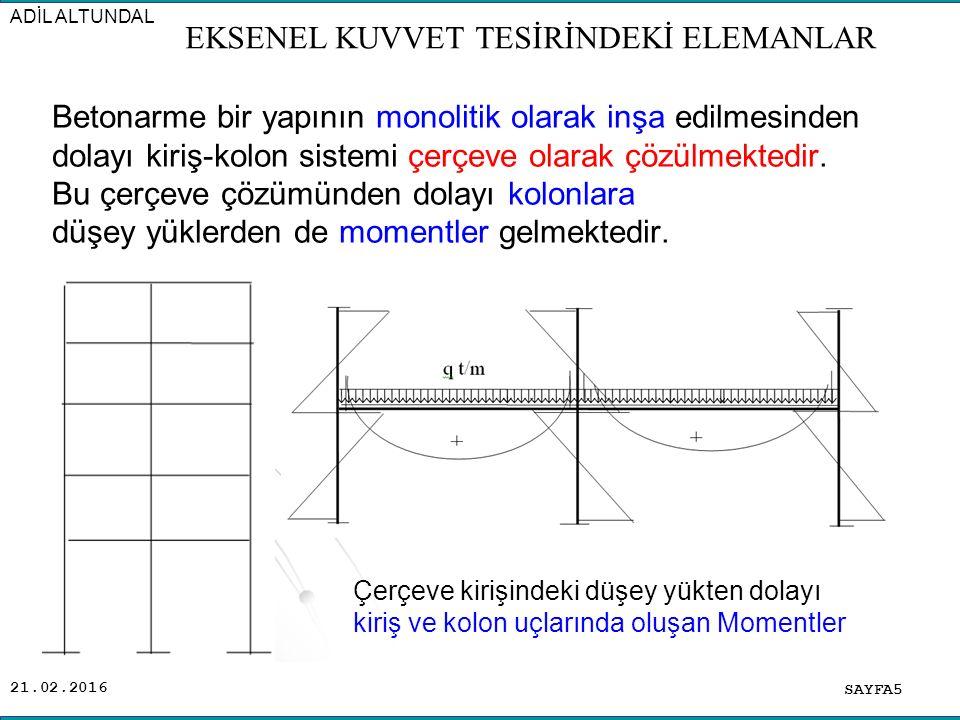 21.02.2016 Betonarme bir yapının monolitik olarak inşa edilmesinden dolayı kiriş-kolon sistemi çerçeve olarak çözülmektedir.