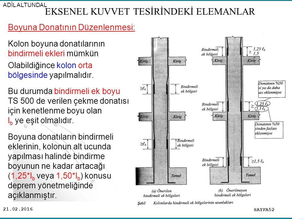 21.02.2016 Boyuna Donatının Düzenlenmesi: Kolon boyuna donatılarının bindirmeli ekleri mümkün Olabildiğince kolon orta bölgesinde yapılmalıdır. Bu dur