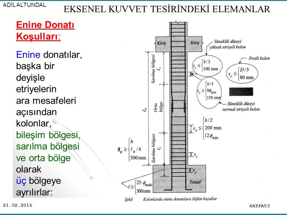 21.02.2016 Enine Donatı Koşulları: Enine donatılar, başka bir deyişle etriyelerin ara mesafeleri açısından kolonlar, bileşim bölgesi, sarılma bölgesi