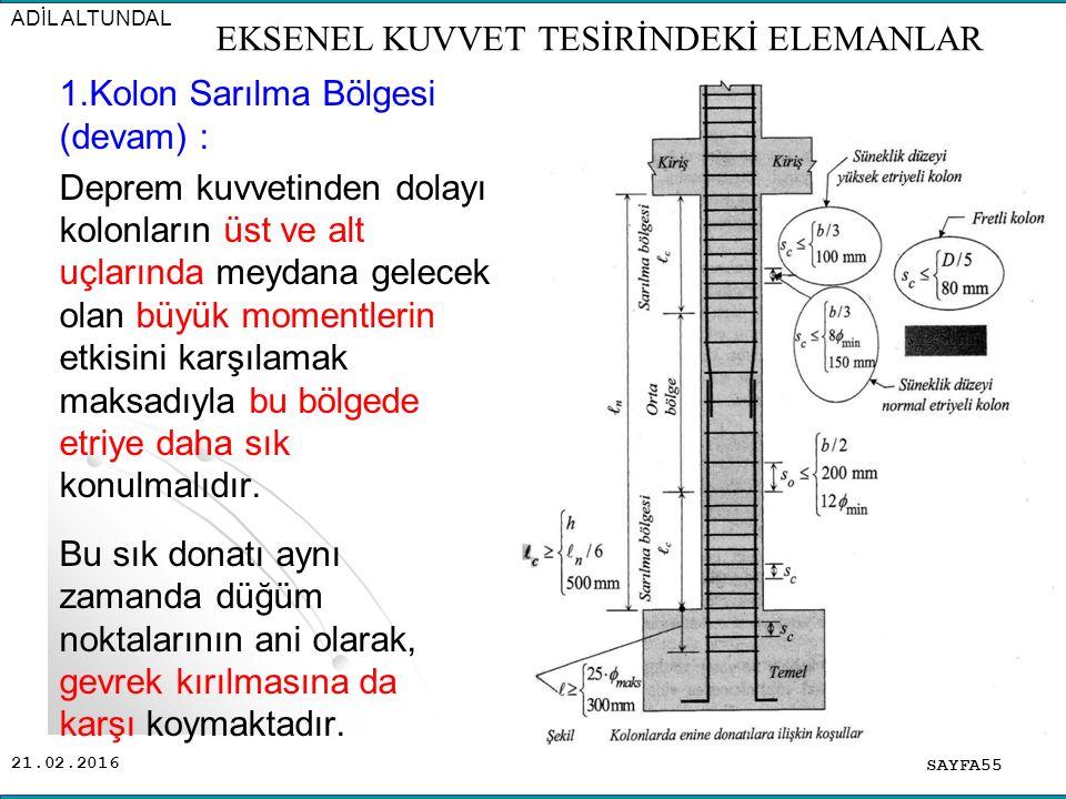21.02.2016 1.Kolon Sarılma Bölgesi (devam) : Deprem kuvvetinden dolayı kolonların üst ve alt uçlarında meydana gelecek olan büyük momentlerin etkisini