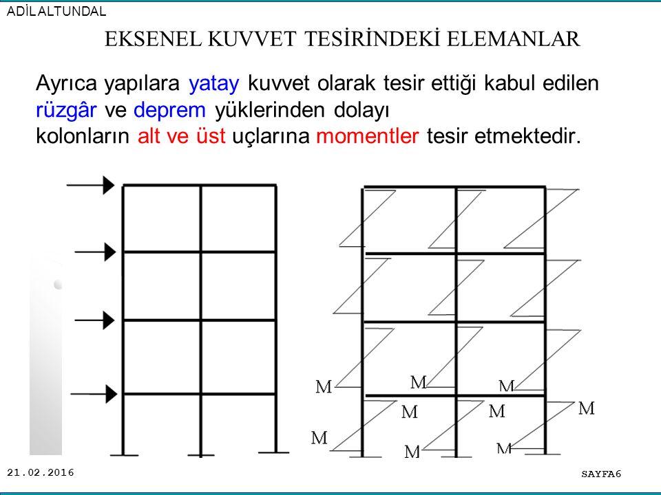 21.02.2016 Bu gibi sebeplerden dolayı yönetmelikler, kolonların sadece ( N ) normal kuvvetine göre hesaplanmasına izin vermezler.