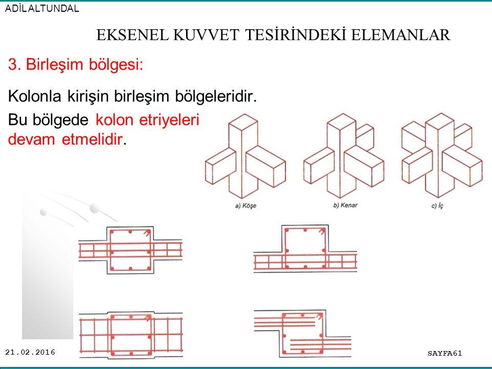 21.02.2016 3. Birleşim bölgesi: Kolonla kirişin birleşim bölgeleridir. Bu bölgede kolon etriyeleri devam etmelidir. SAYFA61 ADİL ALTUNDAL EKSENEL KUVV