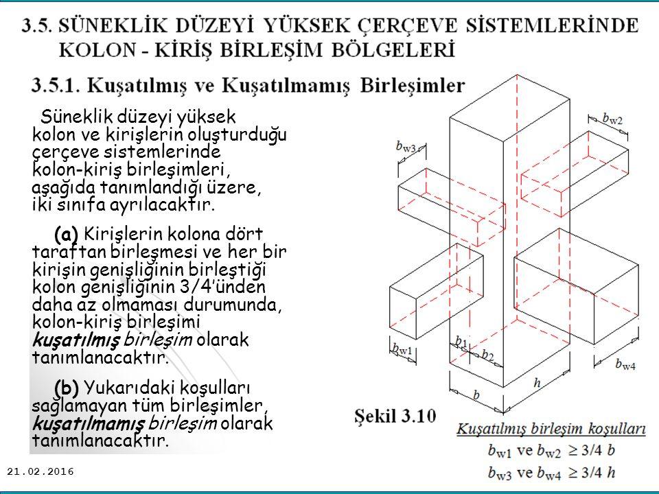 21.02.2016 Süneklik düzeyi yüksek kolon ve kirişlerin oluşturduğu çerçeve sistemlerinde kolon-kiriş birleşimleri, aşağıda tanımlandığı üzere, iki sınıfa ayrılacaktır.