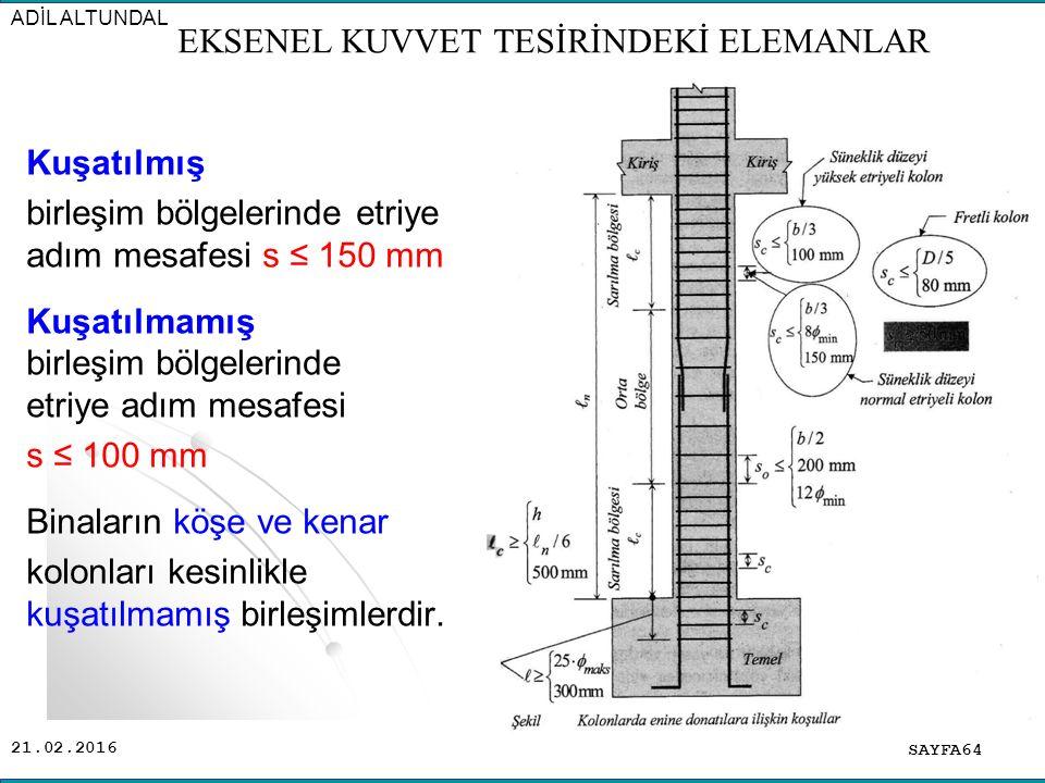 21.02.2016 Kuşatılmış birleşim bölgelerinde etriye adım mesafesi s ≤ 150 mm Kuşatılmamış birleşim bölgelerinde etriye adım mesafesi s ≤ 100 mm Binaların köşe ve kenar kolonları kesinlikle kuşatılmamış birleşimlerdir.