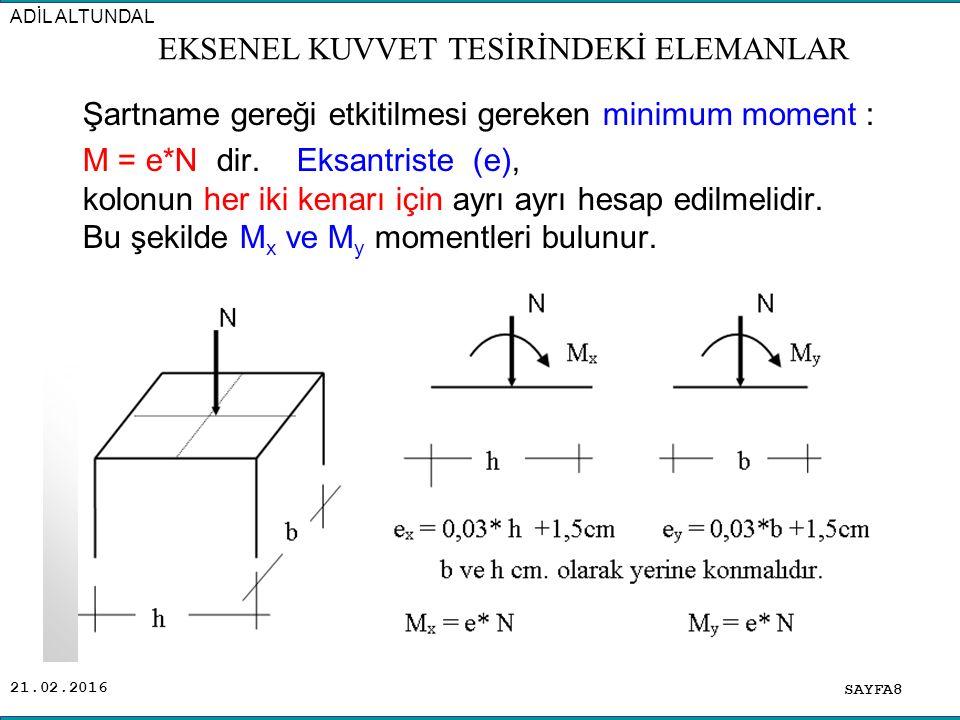 21.02.2016 Şartname gereği etkitilmesi gereken minimum moment : M = e*N dir. Eksantriste (e), kolonun her iki kenarı için ayrı ayrı hesap edilmelidir.