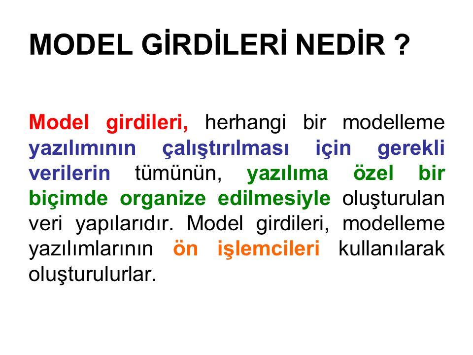 MODEL GİRDİLERİ NEDİR ? Model girdileri, herhangi bir modelleme yazılımının çalıştırılması için gerekli verilerin tümünün, yazılıma özel bir biçimde o