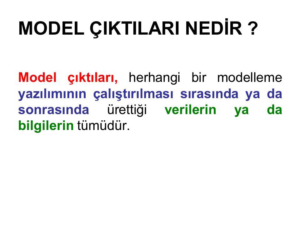 MODEL ÇIKTILARI NEDİR ? Model çıktıları, herhangi bir modelleme yazılımının çalıştırılması sırasında ya da sonrasında ürettiği verilerin ya da bilgile
