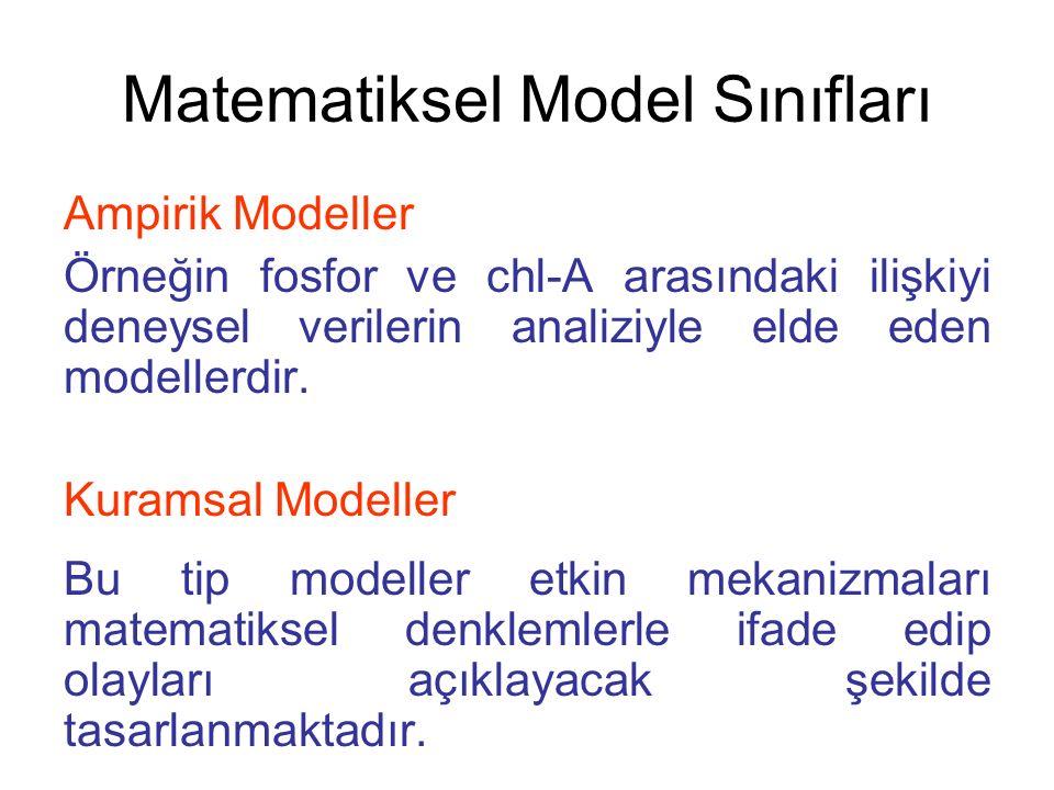 Matematiksel Model Sınıfları Ampirik Modeller Örneğin fosfor ve chl-A arasındaki ilişkiyi deneysel verilerin analiziyle elde eden modellerdir. Kuramsa
