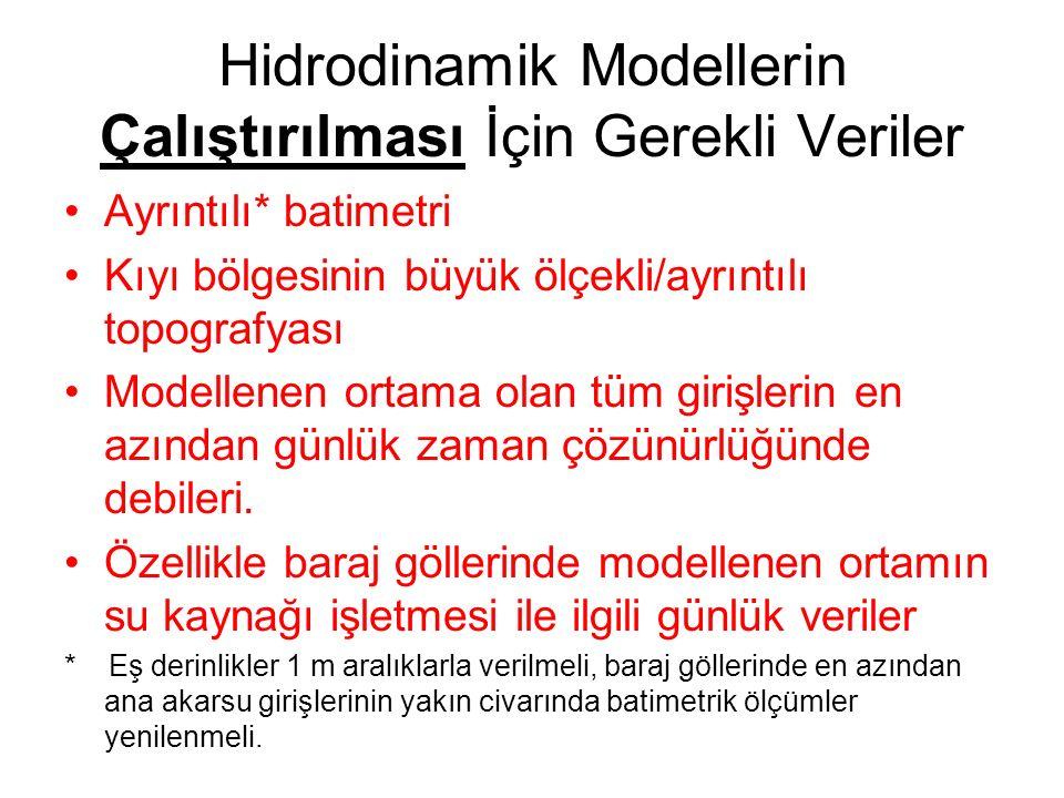 Hidrodinamik Modellerin Çalıştırılması İçin Gerekli Veriler Ayrıntılı* batimetri Kıyı bölgesinin büyük ölçekli/ayrıntılı topografyası Modellenen ortam