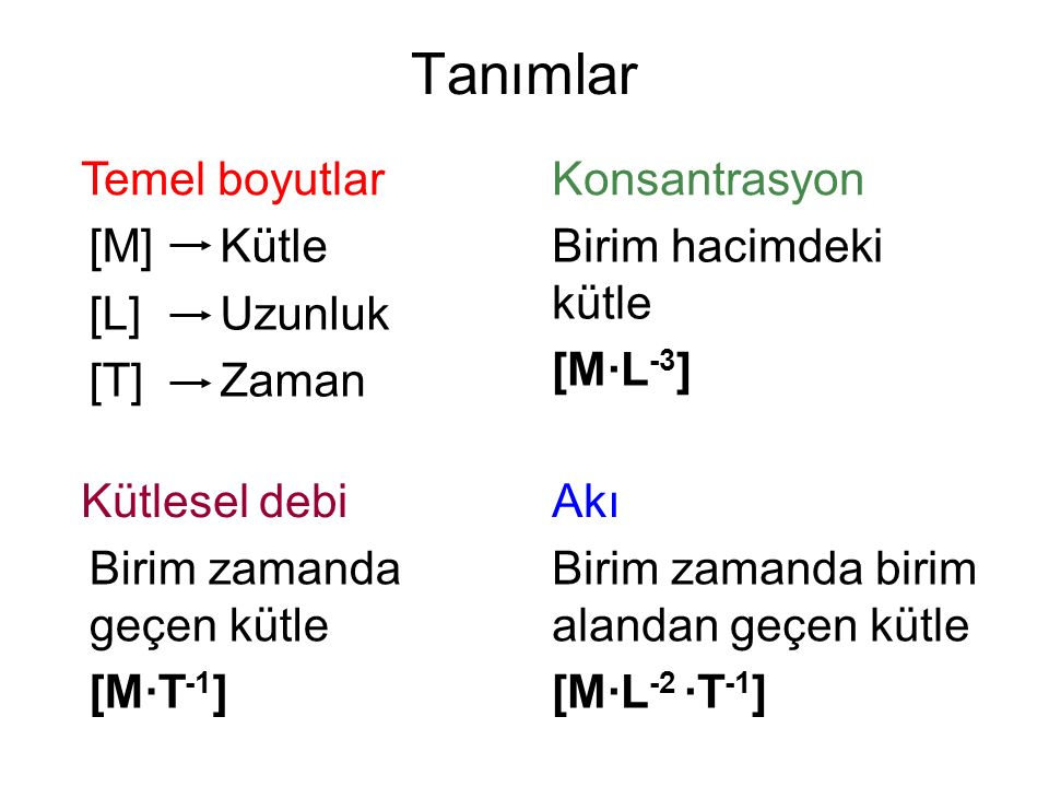 Tanımlar [M] [L] [T] Temel boyutlar Kütle Uzunluk Zaman Konsantrasyon Birim hacimdeki kütle [M∙L -3 ] Kütlesel debi Birim zamanda geçen kütle [M∙T -1