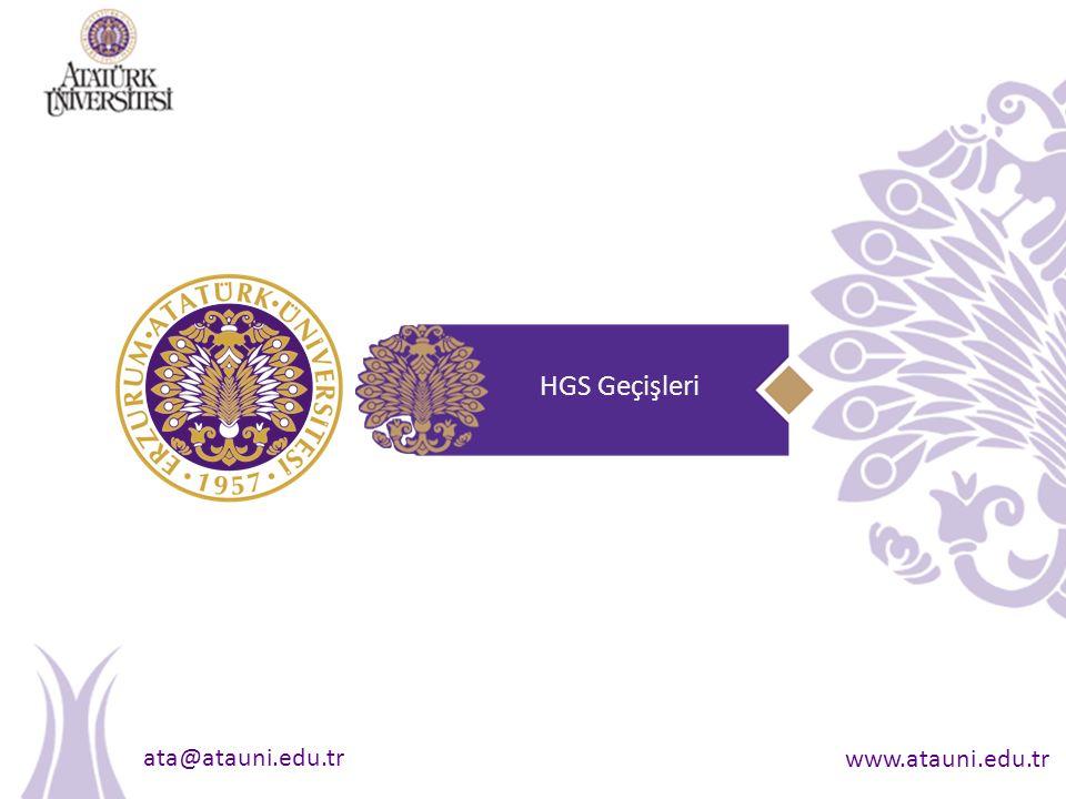 ata@atauni.edu.tr www.atauni.edu.tr HGS Geçişleri