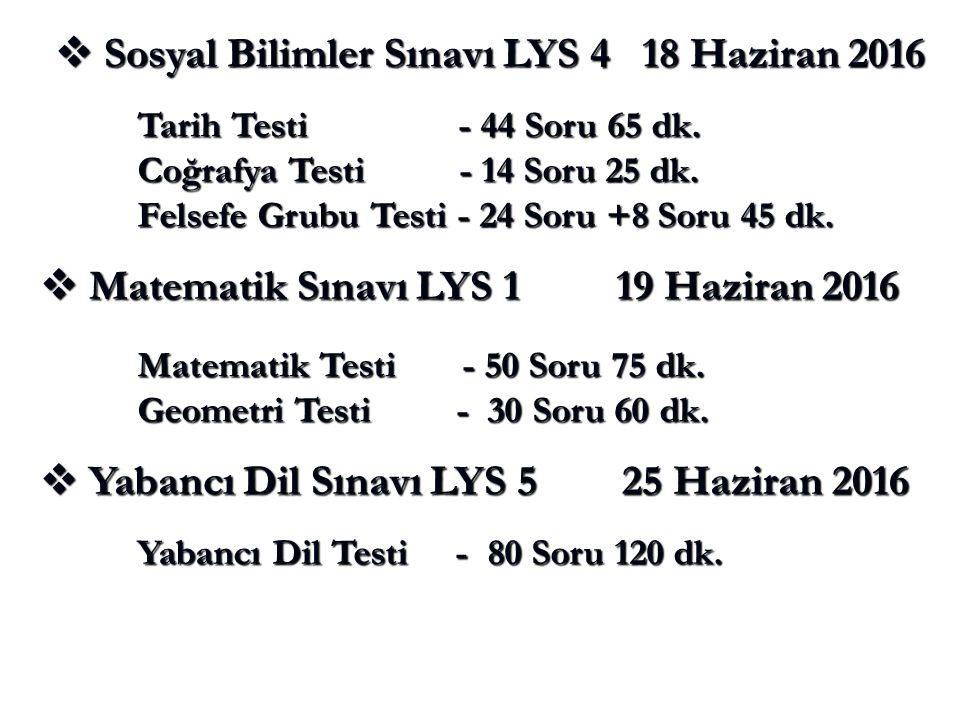  Matematik Sınavı LYS 1 19 Haziran 2016 Matematik Testi - 50 Soru 75 dk.