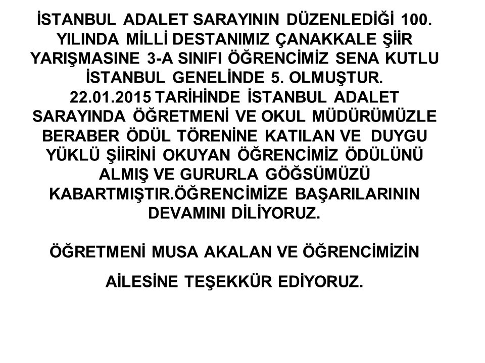 İSTANBUL ADALET SARAYININ DÜZENLEDİĞİ 100.