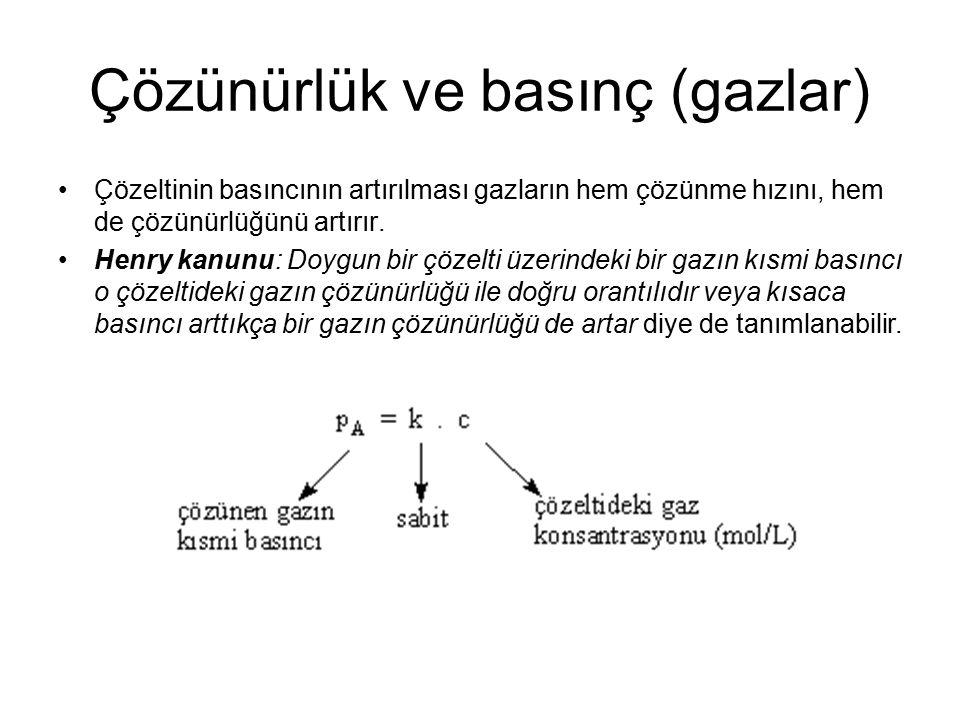 Çözünürlük ve basınç (gazlar) Çözeltinin basıncının artırılması gazların hem çözünme hızını, hem de çözünürlüğünü artırır. Henry kanunu: Doygun bir çö