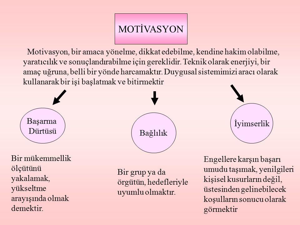MOTİVASYON Başarma Dürtüsü Bağlılık İyimserlik Motivasyon, bir amaca yönelme, dikkat edebilme, kendine hakim olabilme, yaratıcılık ve sonuçlandırabilm