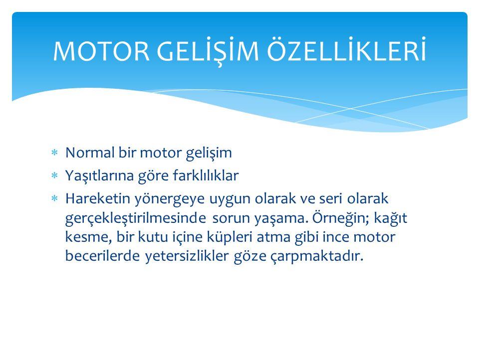  Normal bir motor gelişim  Yaşıtlarına göre farklılıklar  Hareketin yönergeye uygun olarak ve seri olarak gerçekleştirilmesinde sorun yaşama.