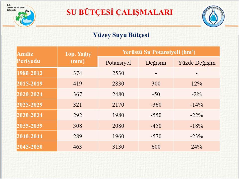 Yüzey Suyu Bütçesi SU BÜTÇESİ ÇALIŞMALARI Analiz Periyodu Top.