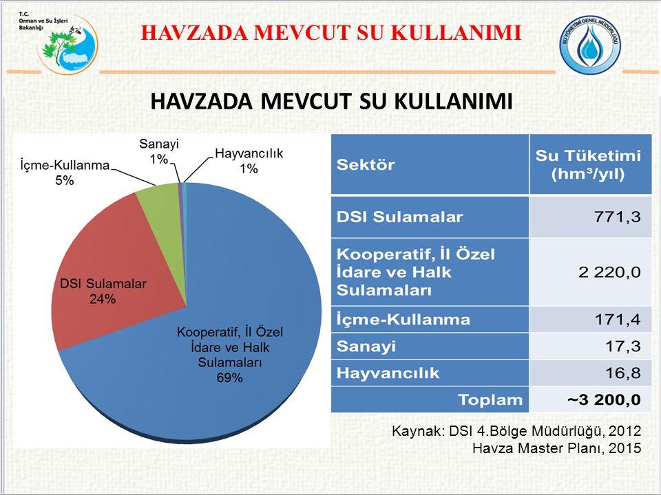 HAVZADA MEVCUT SU KULLANIMI Kaynak: DSI 4.Bölge Müdürlüğü, 2012 Havza Master Planı, 2015