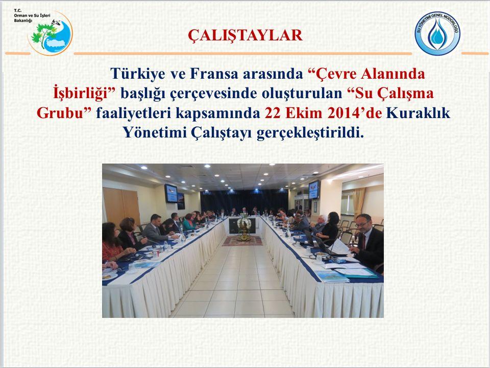 Türkiye ve Fransa arasında Çevre Alanında İşbirliği başlığı çerçevesinde oluşturulan Su Çalışma Grubu faaliyetleri kapsamında 22 Ekim 2014'de Kuraklık Yönetimi Çalıştayı gerçekleştirildi.