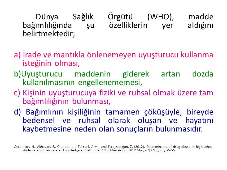 Dünya Sağlık Örgütü (WHO), madde bağımlılığında şu özelliklerin yer aldığını belirtmektedir; a) İrade ve mantıkla önlenemeyen uyuşturucu kullanma iste