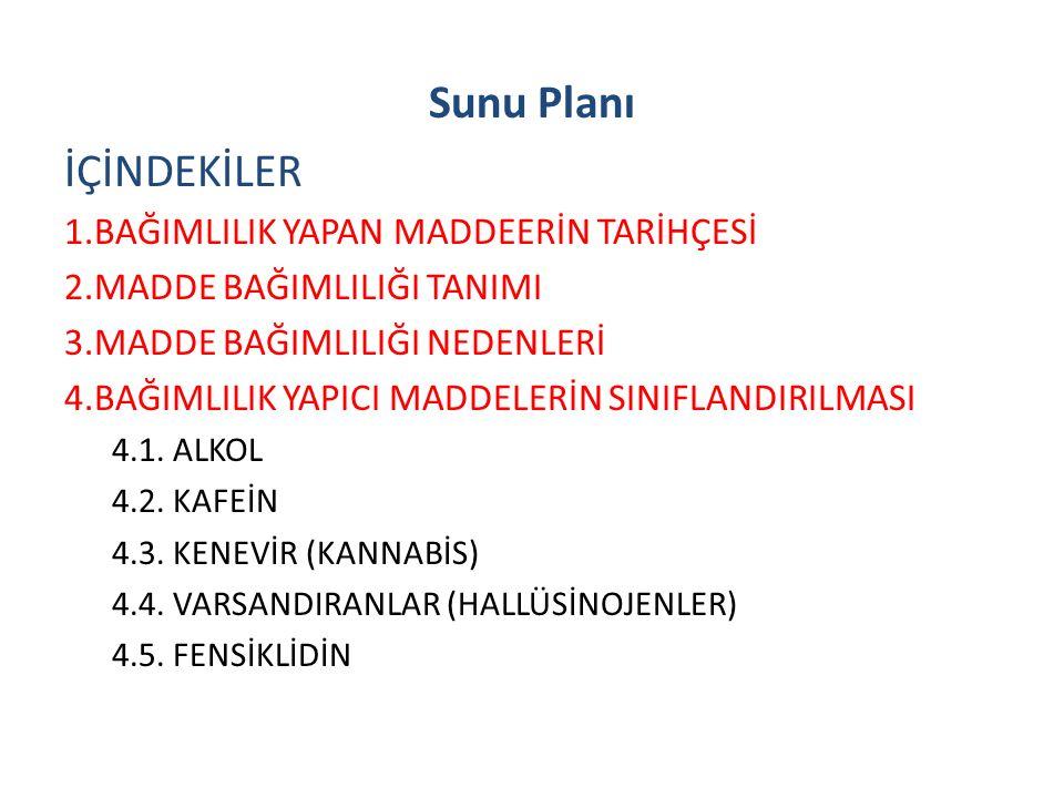 Sunu Planı İÇİNDEKİLER 1.BAĞIMLILIK YAPAN MADDEERİN TARİHÇESİ 2.MADDE BAĞIMLILIĞI TANIMI 3.MADDE BAĞIMLILIĞI NEDENLERİ 4.BAĞIMLILIK YAPICI MADDELERİN SINIFLANDIRILMASI 4.1.