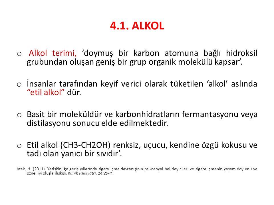4.1. ALKOL o Alkol terimi, 'doymuş bir karbon atomuna bağlı hidroksil grubundan oluşan geniş bir grup organik molekülü kapsar'. o İnsanlar tarafından