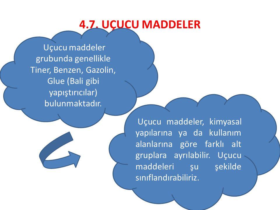 4.7. UÇUCU MADDELER Uçucu maddeler grubunda genellikle Tiner, Benzen, Gazolin, Glue (Bali gibi yapıştırıcılar) bulunmaktadır. Uçucu maddeler, kimyasal