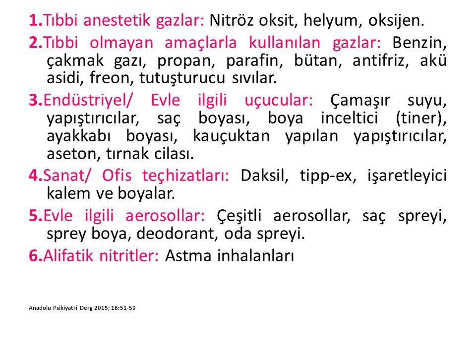 1.Tıbbi anestetik gazlar: Nitröz oksit, helyum, oksijen.