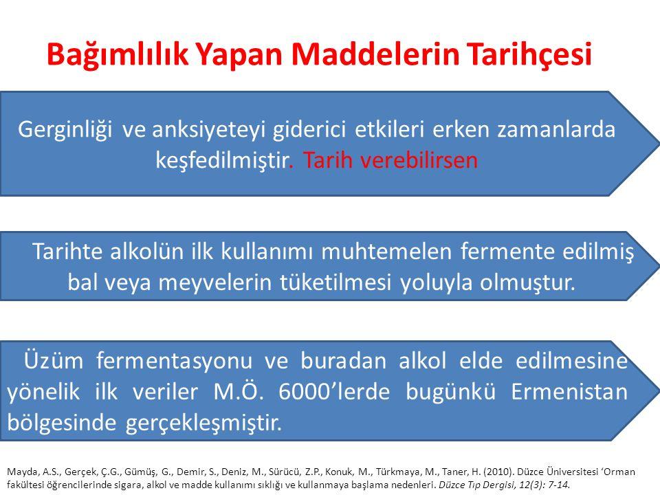 Bağımlılık Yapan Maddelerin Tarihçesi Gerginliği ve anksiyeteyi giderici etkileri erken zamanlarda keşfedilmiştir.