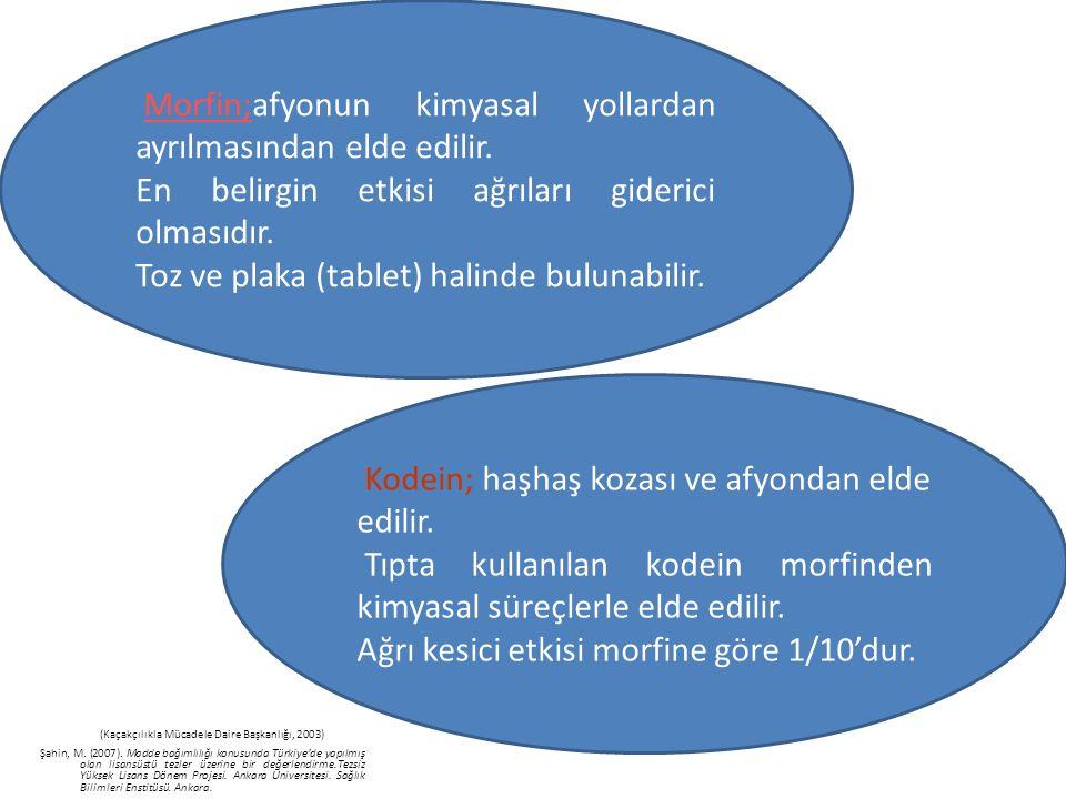 (Kaçakçılıkla Mücadele Daire Başkanlığı, 2003) Şahin, M. (2007). Madde bağımlılığı konusunda Türkiye'de yapılmış olan lisansüstü tezler üzerine bir de