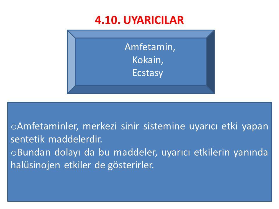4.10. UYARICILAR Amfetamin, Kokain, Ecstasy o Amfetaminler, merkezi sinir sistemine uyarıcı etki yapan sentetik maddelerdir. o Bundan dolayı da bu mad