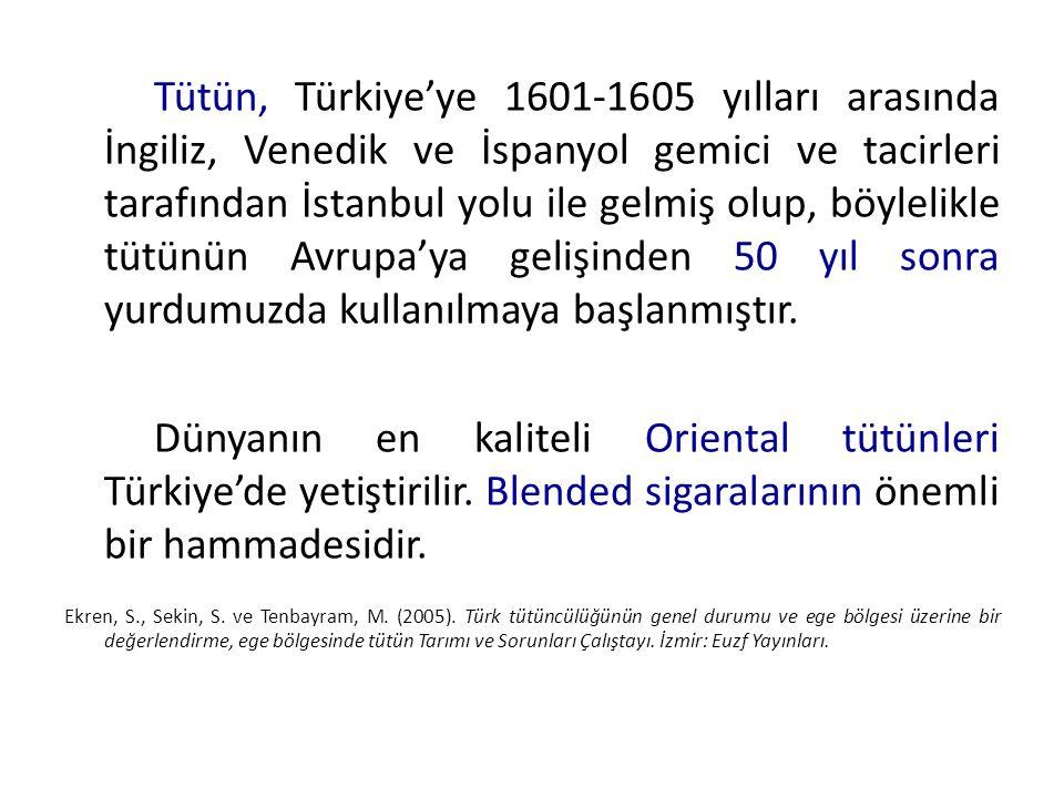 Tütün, Türkiye'ye 1601-1605 yılları arasında İngiliz, Venedik ve İspanyol gemici ve tacirleri tarafından İstanbul yolu ile gelmiş olup, böylelikle tüt