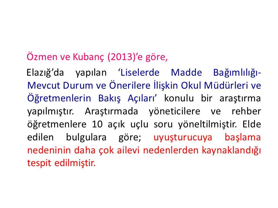 Özmen ve Kubanç (2013)'e göre, Elazığ'da yapılan 'Liselerde Madde Bağımlılığı- Mevcut Durum ve Önerilere İlişkin Okul Müdürleri ve Öğretmenlerin Bakış Açıları' konulu bir araştırma yapılmıştır.