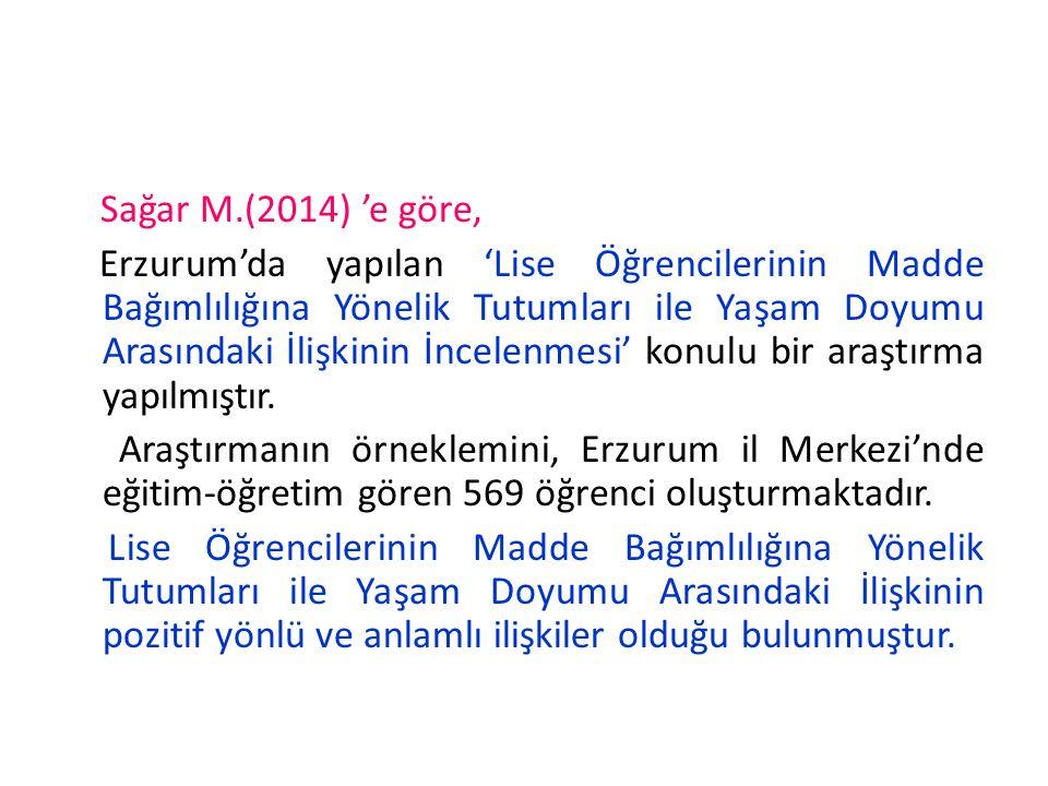 Sağar M.(2014) 'e göre, Erzurum'da yapılan 'Lise Öğrencilerinin Madde Bağımlılığına Yönelik Tutumları ile Yaşam Doyumu Arasındaki İlişkinin İncelenmesi' konulu bir araştırma yapılmıştır.