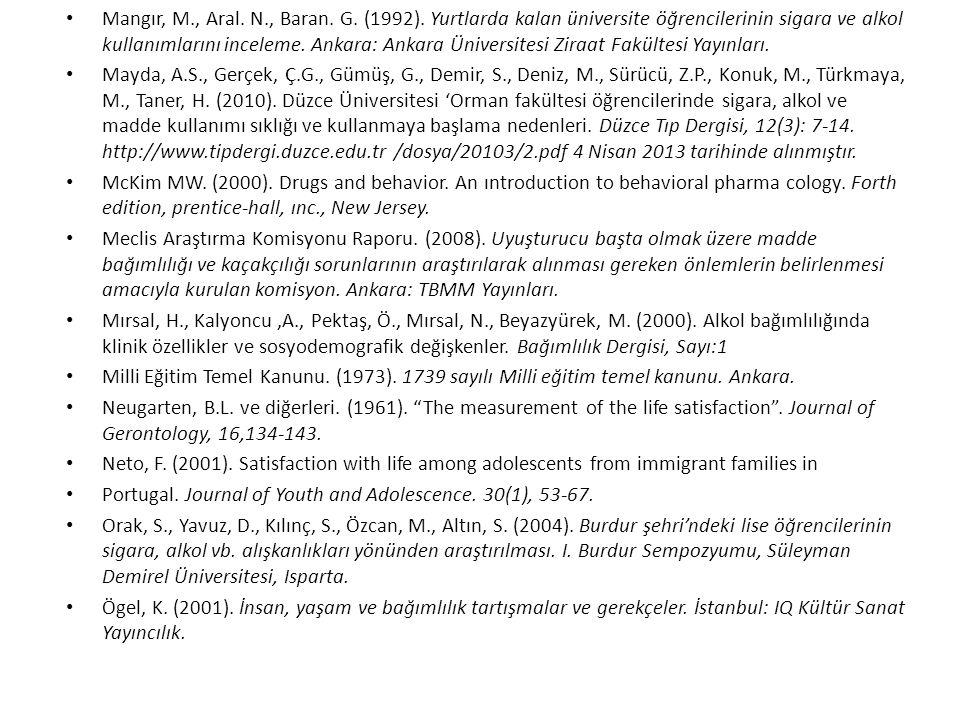 Mangır, M., Aral. N., Baran. G. (1992). Yurtlarda kalan üniversite öğrencilerinin sigara ve alkol kullanımlarını inceleme. Ankara: Ankara Üniversitesi