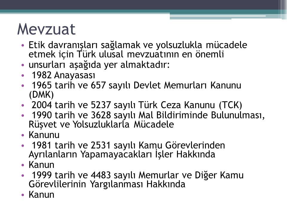 Mevzuat Etik davranışları sağlamak ve yolsuzlukla mücadele etmek için Türk ulusal mevzuatının en önemli unsurları aşağıda yer almaktadır: 1982 Anayasa