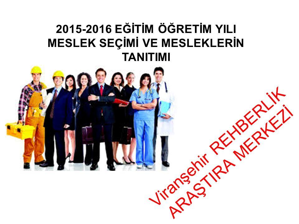 Viranşehir REHBERLİK ARAŞTIRA MERKEZİ 2015-2016 EĞİTİM ÖĞRETİM YILI MESLEK SEÇİMİ VE MESLEKLERİN TANITIMI