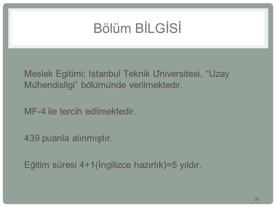 """36 Bölüm BİLGİSİ Meslek Egitimi; Istanbul Teknik U ̈ niversitesi, """"Uzay Mu ̈ hendisligi"""" bo ̈ lu ̈ mu ̈ nde verilmektedir. MF-4 ile tercih edilmektedi"""
