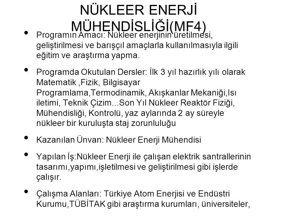 NÜKLEER ENERJİ MÜHENDİSLİĞİ(MF4) Programın Amacı: Nükleer enerjinin üretilmesi, geliştirilmesi ve barışçıl amaçlarla kullanılmasıyla ilgili eğitim ve araştırma yapma.