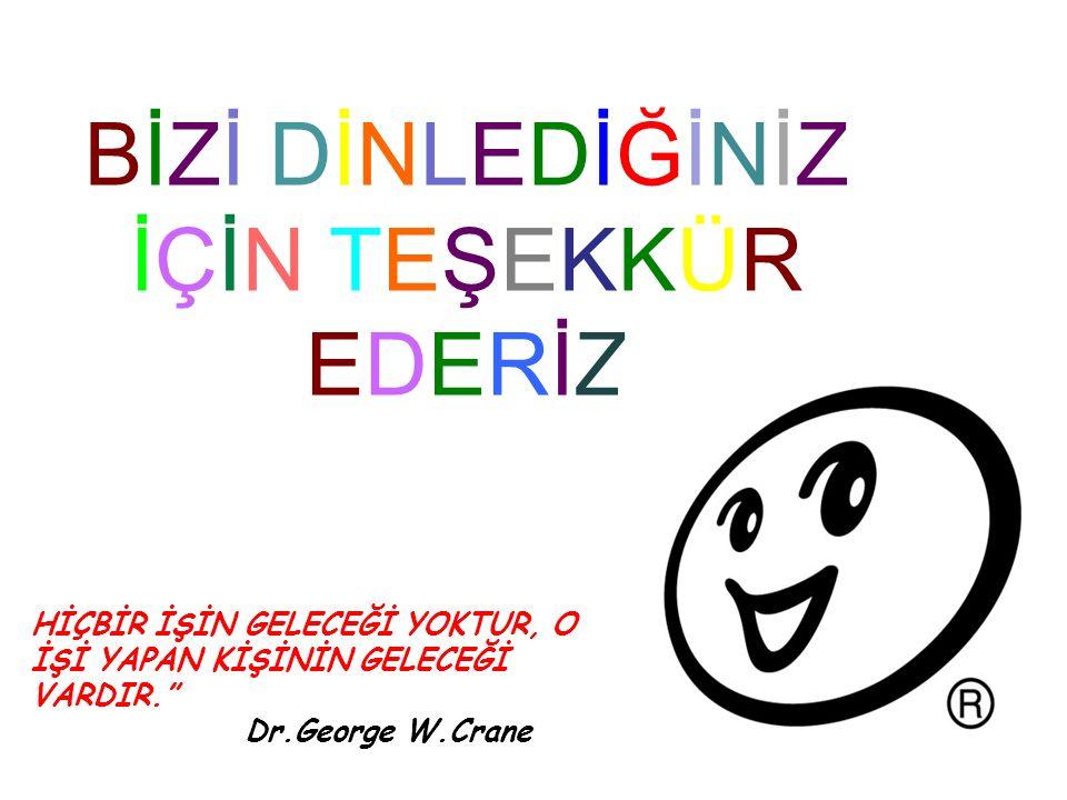 BİZİ DİNLEDİĞİNİZİÇİN TEŞEKKÜREDERİZBİZİ DİNLEDİĞİNİZİÇİN TEŞEKKÜREDERİZ HİÇBİR İŞİN GELECEĞİ YOKTUR, O İŞİ YAPAN KİŞİNİN GELECEĞİ VARDIR. Dr.George W.Crane