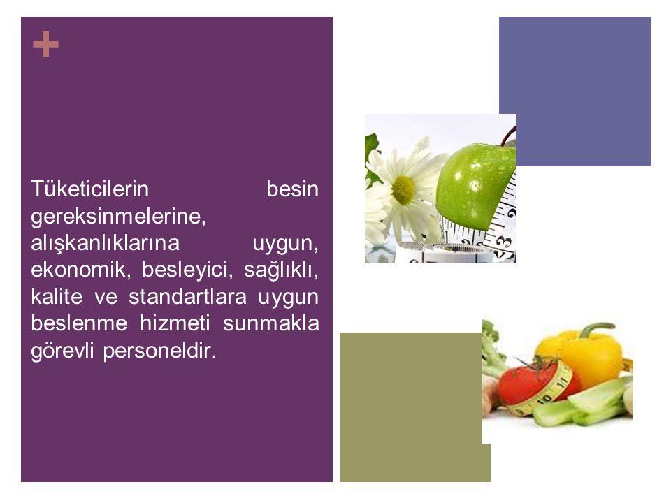 + Tüketicilerin besin gereksinmelerine, alışkanlıklarına uygun, ekonomik, besleyici, sağlıklı, kalite ve standartlara uygun beslenme hizmeti sunmakla