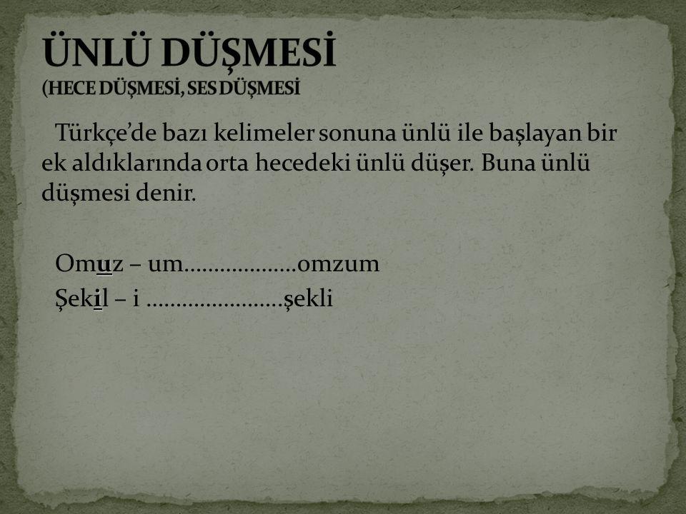 Türkçe'de bazı kelimeler sonuna ünlü ile başlayan bir ek aldıklarında orta hecedeki ünlü düşer. Buna ünlü düşmesi denir. Omuz – um……………….omzum Şekil –