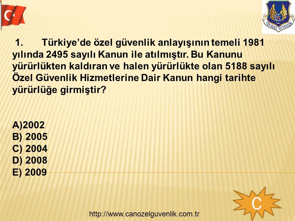 http://www.canozelguvenlik.com.tr 1.Türkiye'de özel güvenlik anlayışının temeli 1981 yılında 2495 sayılı Kanun ile atılmıştır. Bu Kanunu yürürlükten k