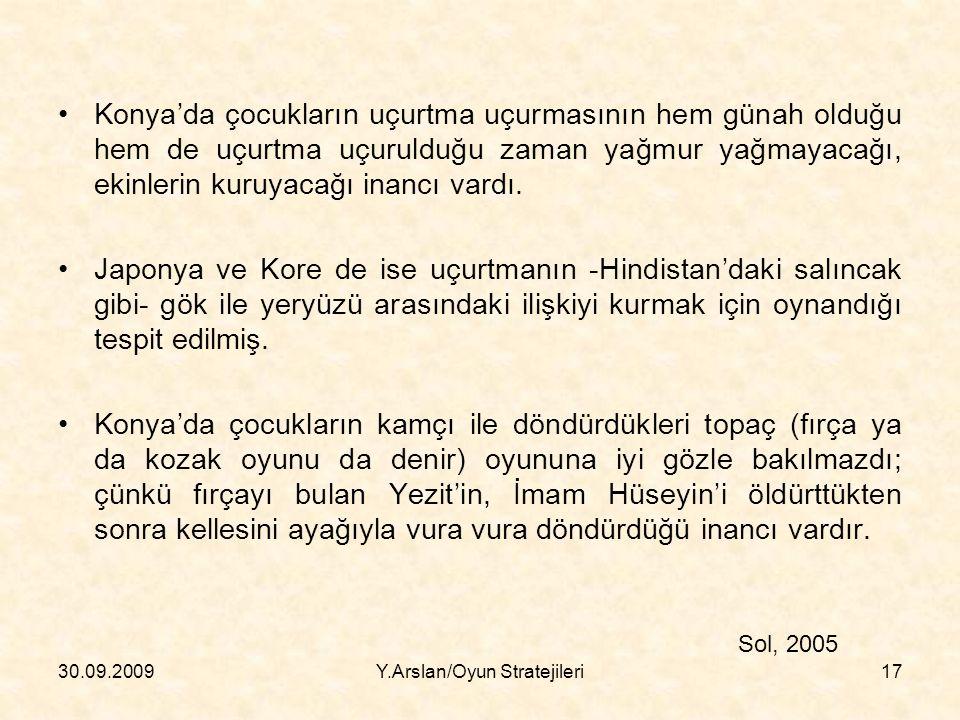 Konya'da çocukların uçurtma uçurmasının hem günah olduğu hem de uçurtma uçurulduğu zaman yağmur yağmayacağı, ekinlerin kuruyacağı inancı vardı.