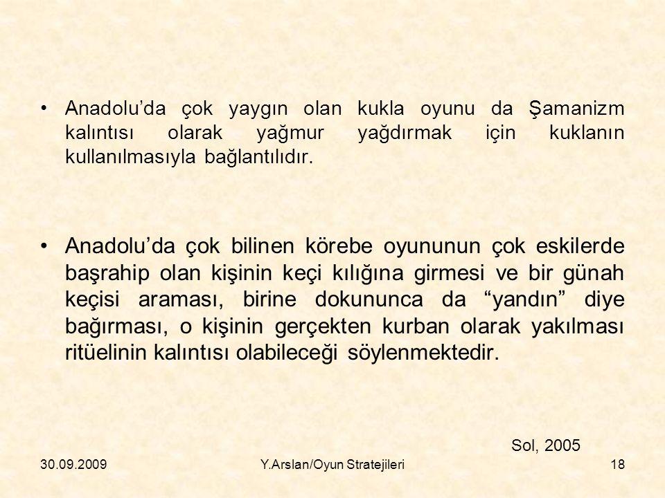 Anadolu'da çok yaygın olan kukla oyunu da Şamanizm kalıntısı olarak yağmur yağdırmak için kuklanın kullanılmasıyla bağlantılıdır.