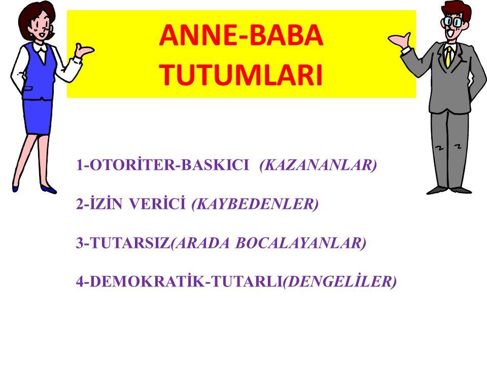 ANNE-BABA TUTUMLARI 1-OTORİTER-BASKICI (KAZANANLAR) 2-İZİN VERİCİ (KAYBEDENLER) 3-TUTARSIZ(ARADA BOCALAYANLAR) 4-DEMOKRATİK-TUTARLI(DENGELİLER)