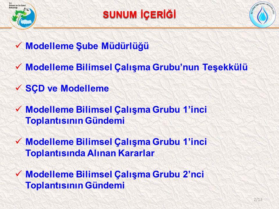Modelleme Şube Müdürlüğü Bakanlık Makamı'nın 03.10.2013 tarihli ve 154 sayılı Olur'u Modelleme Şube Müdürlüğü kurulmuştur.