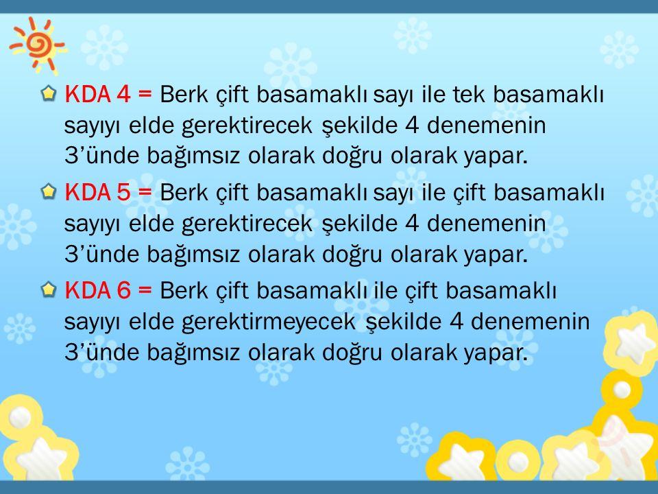 KDA 4 = Berk çift basamaklı sayı ile tek basamaklı sayıyı elde gerektirecek şekilde 4 denemenin 3'ünde bağımsız olarak doğru olarak yapar. KDA 5 = Ber